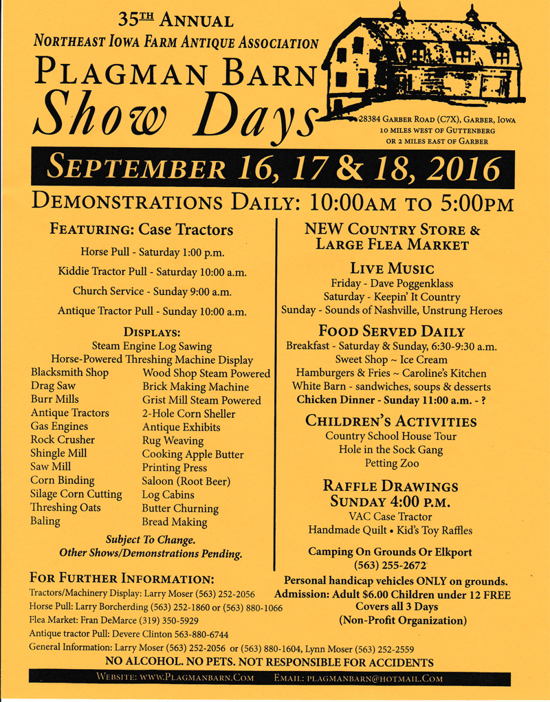 Plagman Barn Show Days Flyer 2016